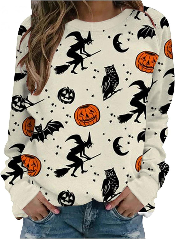 Halloween Womens Sweatshirts, Women Long Sleeve Bat Print Trendy Sweatshirt Casual Pullover Tops Shirts Blouses
