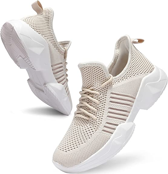 UUBARIS Womens Breathable Walking Tennis Running Shoes Blade Slip on Casual Fashion Sneakers Pink Size 5.5