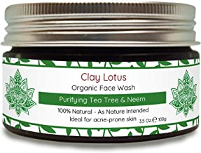Organic Face Wash For Acne Prone, Oily Skin. 100% Natural With Tea Tree Oil & Neem. Acne Facial Cleanser Fights Blemishes, Spots & Redness For Clear Skin. No Artificial Chemicals, Vegan. By Clay Lotus