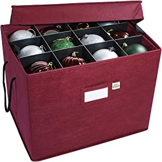 612 Vermont Christmas Ornament Storage Box with Adjustable Acid-Free Dividers, 3 Removable Trays with Handles, 17 Inch x 13 Inch x 13 Inch, Holds 36-4 Inch Ornaments