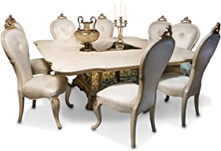 AICO Platine de Royale Champagne Square 7 Piece Dining Room Set with Table and 6 x Side Chair