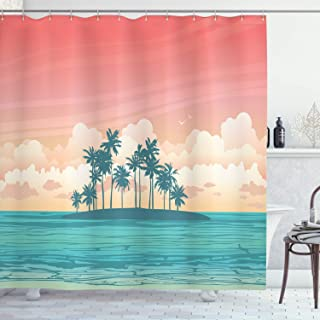 Lunarable Tropical Shower Curtain, Coconut Tree Silhouettes on Island Exotic Pastel Colored Landscape, Cloth Fabric Bathroom Decor Set with Hooks, 75