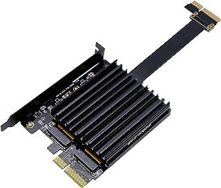 EZDIY-FAB - Doppio adattatore M.2 PCIe, SSD M.2 PCIe NVMe e PCIe AHCI a PCIe 3.0 x4, supporta due SSD NVME M.2