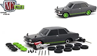 1970 Datsun 510 Gun Metal Gray with Green Stripes and Black Hood Model Kit Limited Edition to 2,400 pieces Worldwide 1/24 Diecast Model Car by M2 Machines 47000-06 GRAY