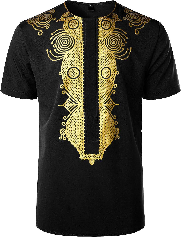 Men's African Traditional Metallic Gold Pattern Printed Dashiki Luxury Short Sleeve Shirt