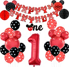 Mickey Themed 1st Birthday Decorations Mickey Head Balloons One Cake Topper Honeycomb Balls for Boys Girls Mickey and Minn...