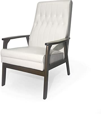 Christopher Knight Home Judy Accent Chair, Snow White, Walnut