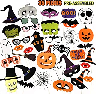 PUSITI Halloween Photo Booth Props 35 Pieces Pre-assembled Party Favors Decorations Pumpkin Ghost Lips Skull Glasses Wizard Hat Spider Mask Pose Sign Kit