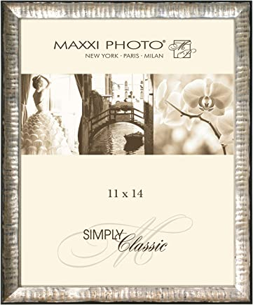 "Maxxi Designs Gallery Frame with Sawtooth Hanger, 12 x 12"", Antique Silver Lucca"