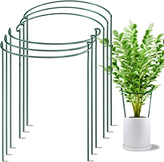 """HiGift 6 Pack Plant Stake Support, Metal Garden Plant Stake, Green Half Round Plant Support Ring, Plant Cage, Plant Support for Tomato, Hydrangea, Rose, Vine (10"""" Wide x 15.8"""" High)"""
