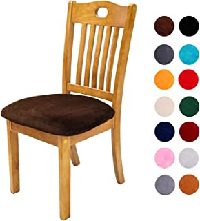 Soft Velvet Dining Chair Seat Covers, Stretchable Dining Room Upholstered Chair Seat Cushion Cover, Removable Washable Anti-Dust Kitchen Chair Protector Slipcovers - Set of 6, Coffee