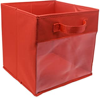 EASYVIEW Storage Basket Cube with Clear View Mesh Side, 2-Handles All Woven Oxford Nylon Bin 10.5 x 10.5 x 10-Inches, Foldable