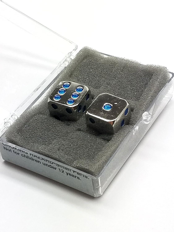 Box of 2 Zinc Metal Alloy D6 15mm Heavy Dice - Blau Pips by Koplow Games