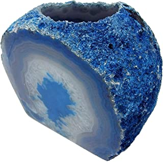 AMOYSTONE Blue Agate Stone Candle Holder Brazilian Agate Cut Base Candlestick Holders Heavy Duty 1.5-2.5 Lbs