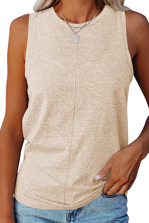 Paitluc Women's Casual Summer Round Neck Sleeveless Tank Tops Loose Waffle Tunic Tee Shirts S-XXL