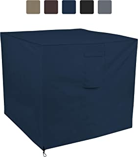 Air Conditioner Cover 12 Oz Waterproof - 100% UV & Weather Resistant PVC Coated Outdoor Furniture Cover with Air Pockets & Drawstring for Snug Fit (26W x 26D x 32H, Blue)