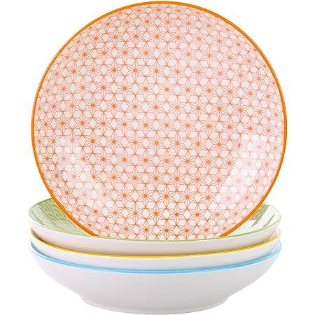 vancasso, série Natsuki, Assiette Creuse, 4 pièces, en Porcelaine, Style Japonais