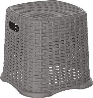Cosmoplast Plastic Rattan Wicker Step Stool, Grey, Cosmoplast Rattan Step Stool, IFHHXX326G6