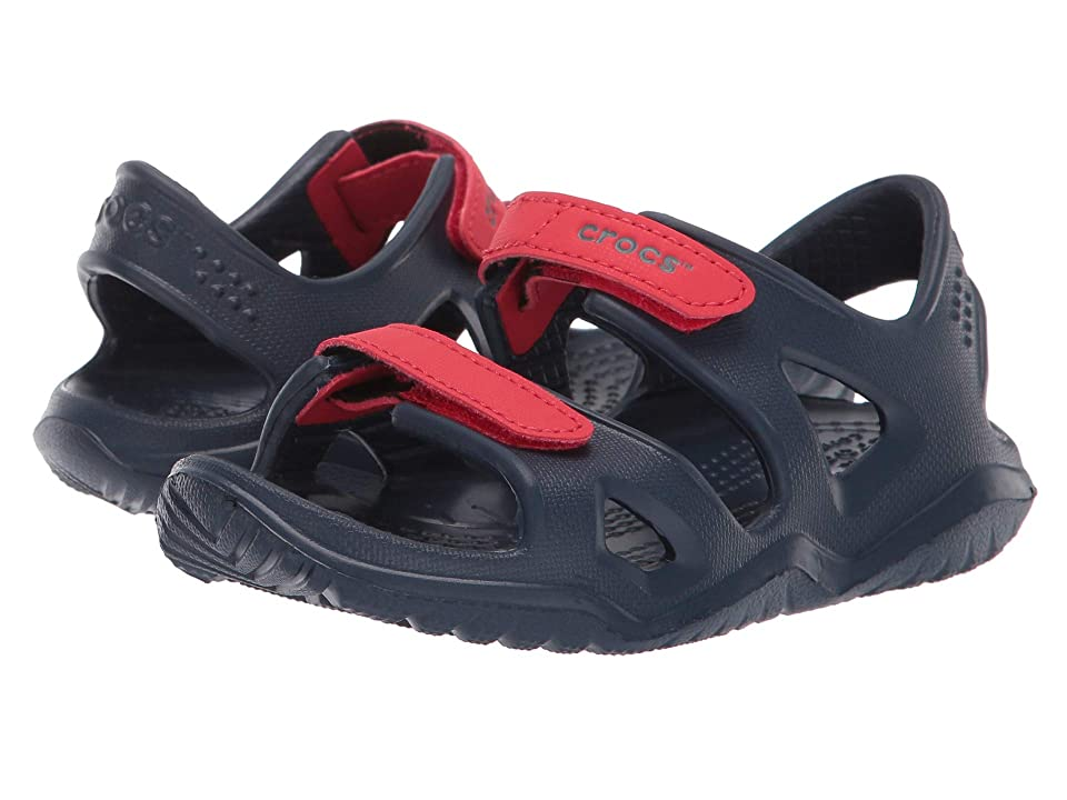 Crocs Kids Swiftwater River Sandal (Toddler/Little Kid) (Navy/Flame) Boys Shoes