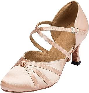 Minishion Women's Latin Ballroom Ankle Strap Satin Dance Shoes Wedding Party Pumps L117