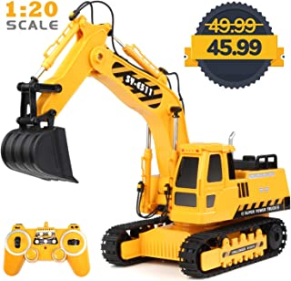 RACPNEL Remote Control Excavator 1:20 RC Excavator Toy, 11 Channel Fully Functional Construction Toys, 2.4GHz Rechargeable RC Construction Vehicles with Lights & Sounds, Birthday Gifts for Kids, Boys