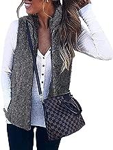 Women's Casual Sherpa Fleece Vest Zip up Warm Cardigan Waistcoat Outerwear with Pockets