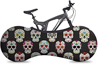 VELOSOCK Bicycle Bike Cover Skulls for Indoor Storage - Keeps Floors and Walls Dirt-Free - Fits 99% of All Adult Bicycles