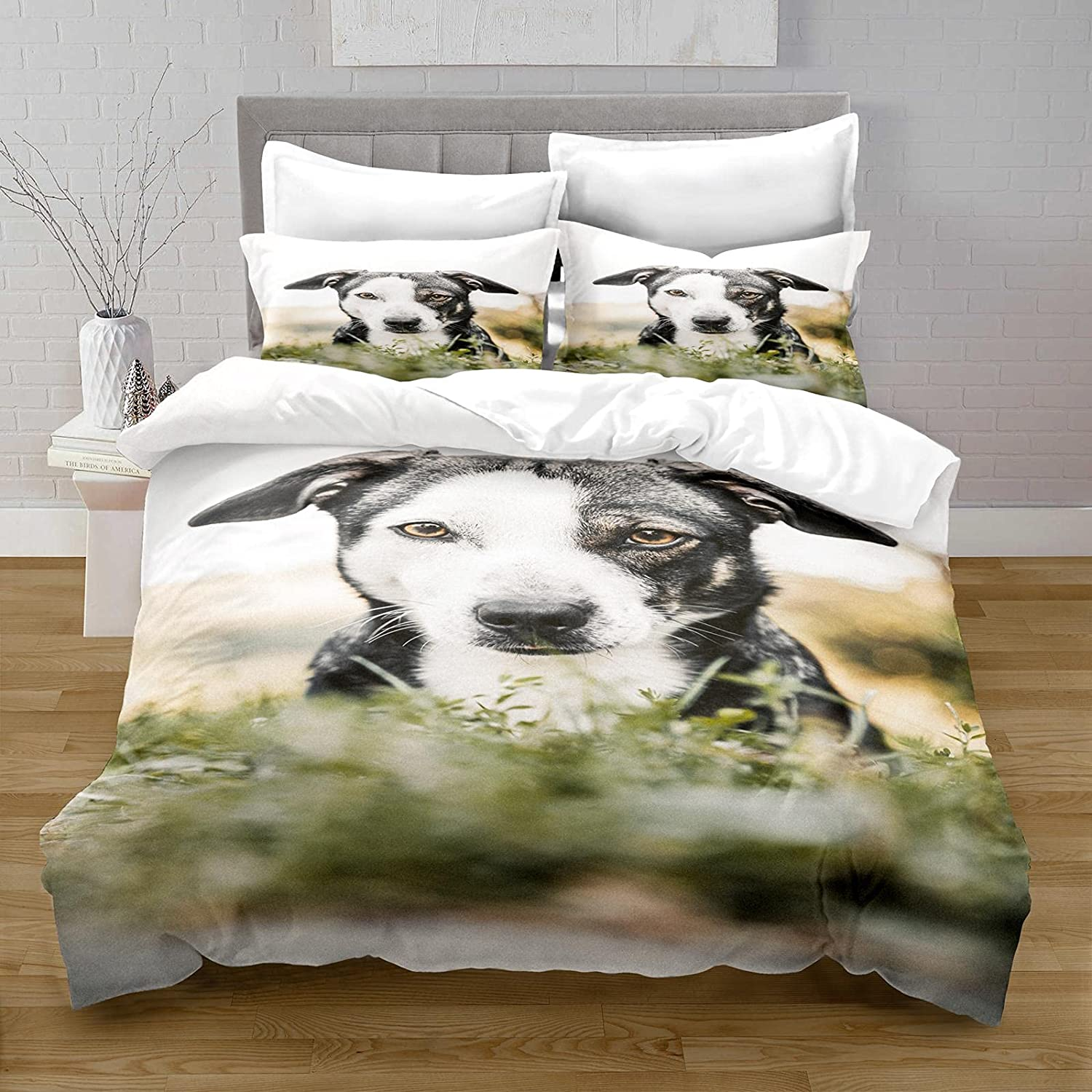 HQHM Duvet Cover King 3 Pieces Very popular! Stereo Animal Puppy Grass 4 years warranty I 61X79