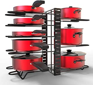 Pan Rack Organizer Pot with Adjustable 8 Dividers 3 DIY Methods Pan Holder, GLADFRESIT Black Cookware Rack for Cabinet Countertop Pantry Kitchen Dishes Lids Space Saver