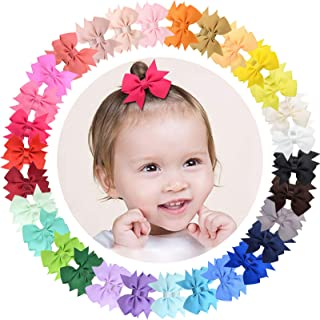 "ALinmo 60pcs Baby Girls Hair Clips 2"" Grosgrain Ribbon Hair Bow Fully Lined Clips Hair Accessories for Baby Girls Infants ..."