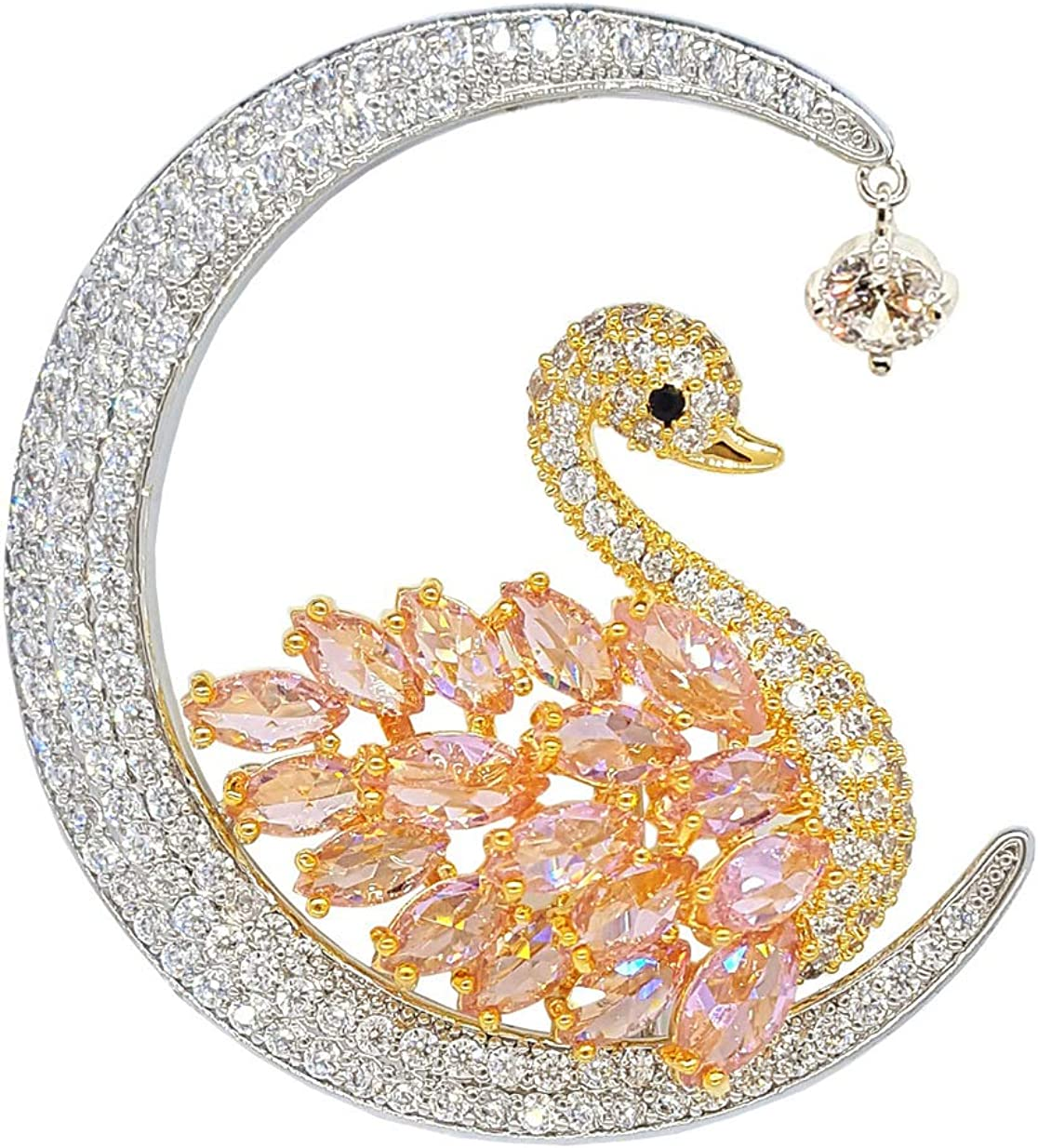 Newvision1981 Brooches for Women Pink Bird Swan Moon Crystal Jewelry Animal Pins,Large