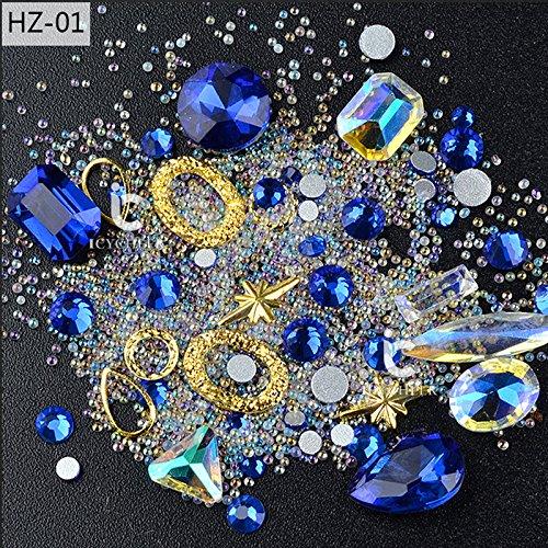 Icycheer - Décorations pour ongles - Formes en 3D - Pic en métal punk, strass, mini perles et diamants pour projets DIY