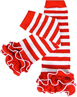 Wrapables Dots, Hearts, and Ruffles Colorful Baby Leg Warmers - Stripes Red & White with Ruffles