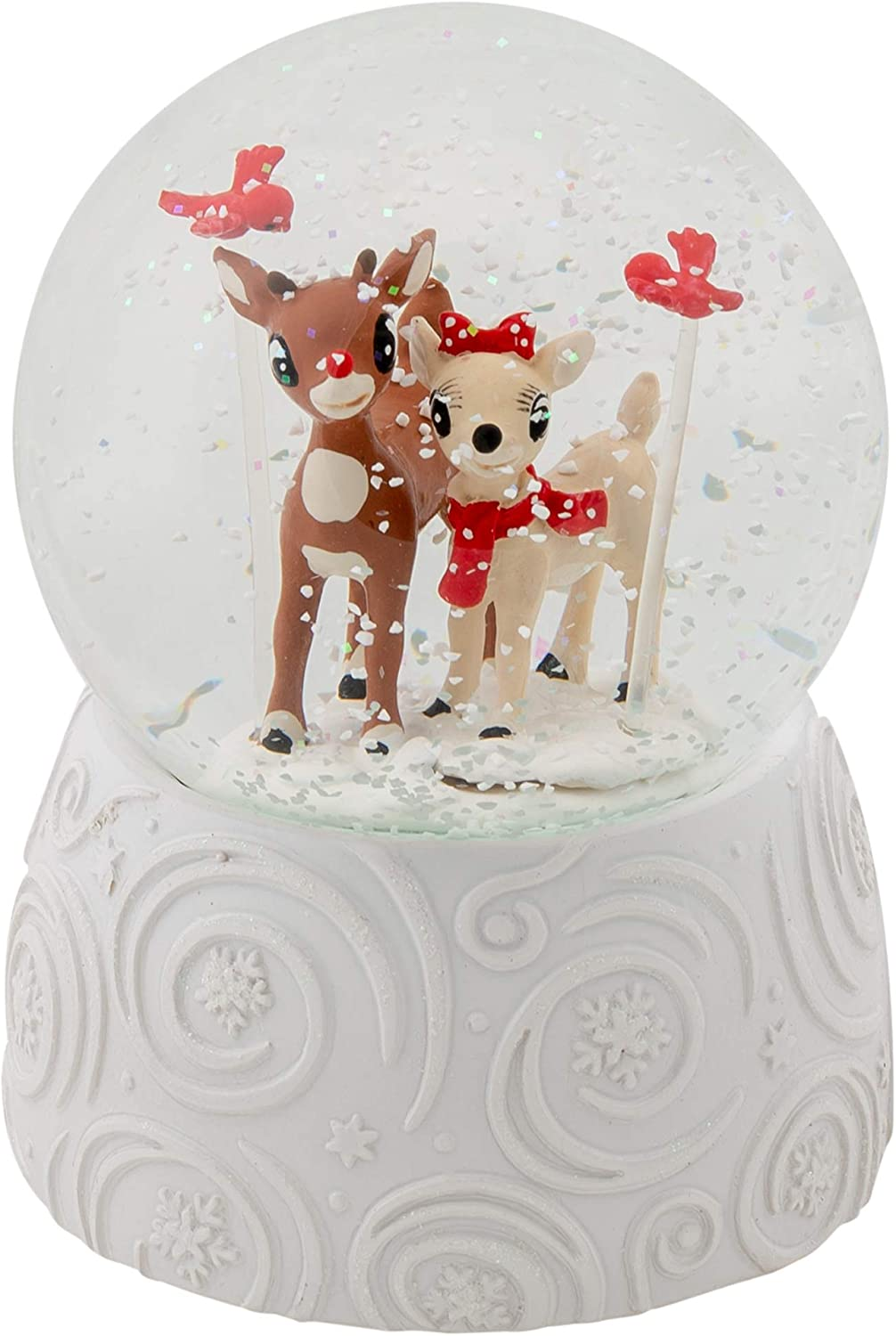 Rudolph With Clarice Musical 6 Inch Globe Plays The Tune Rudolph The Red Nose Reindeer