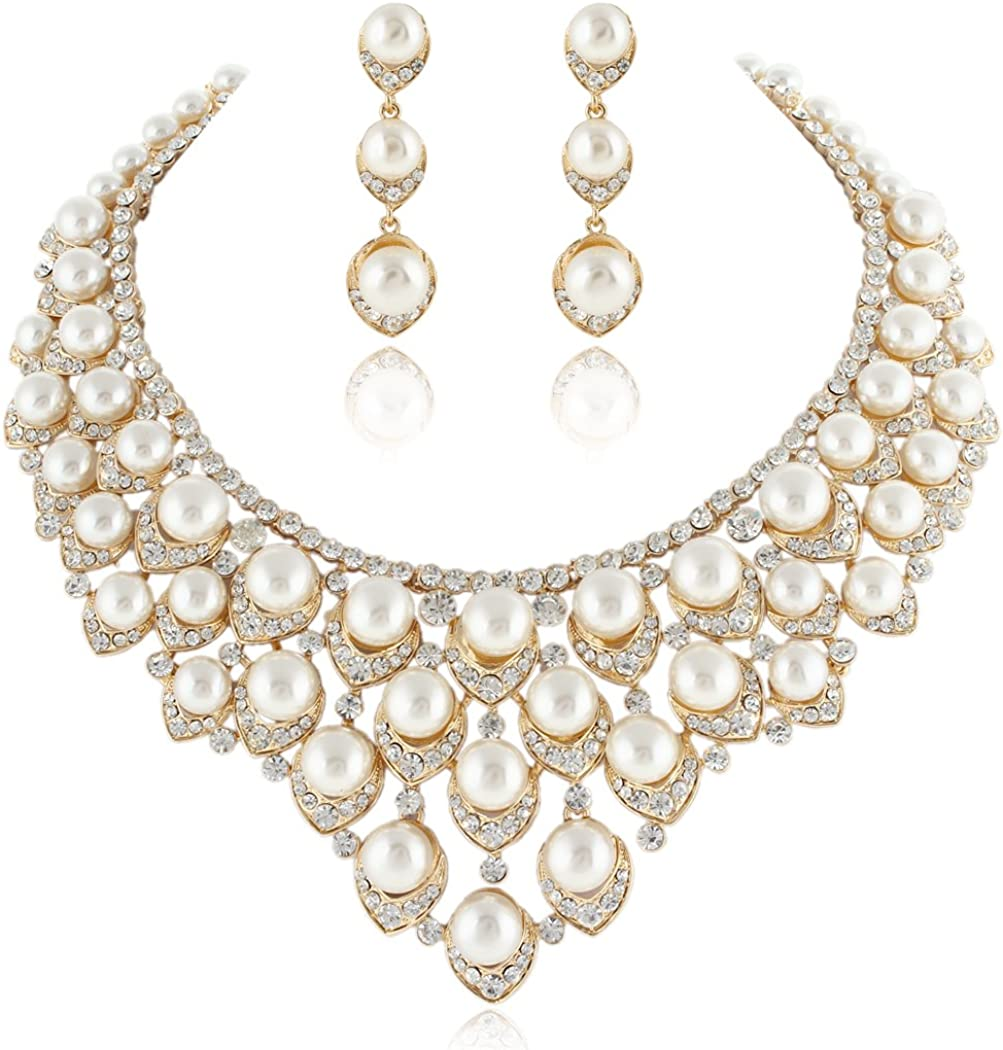 EVER FAITH Crystal Ivory Color Simulated Pearl V-Shaped Cluster Necklace Earrings Jewelry Set Clear Gold-Tone