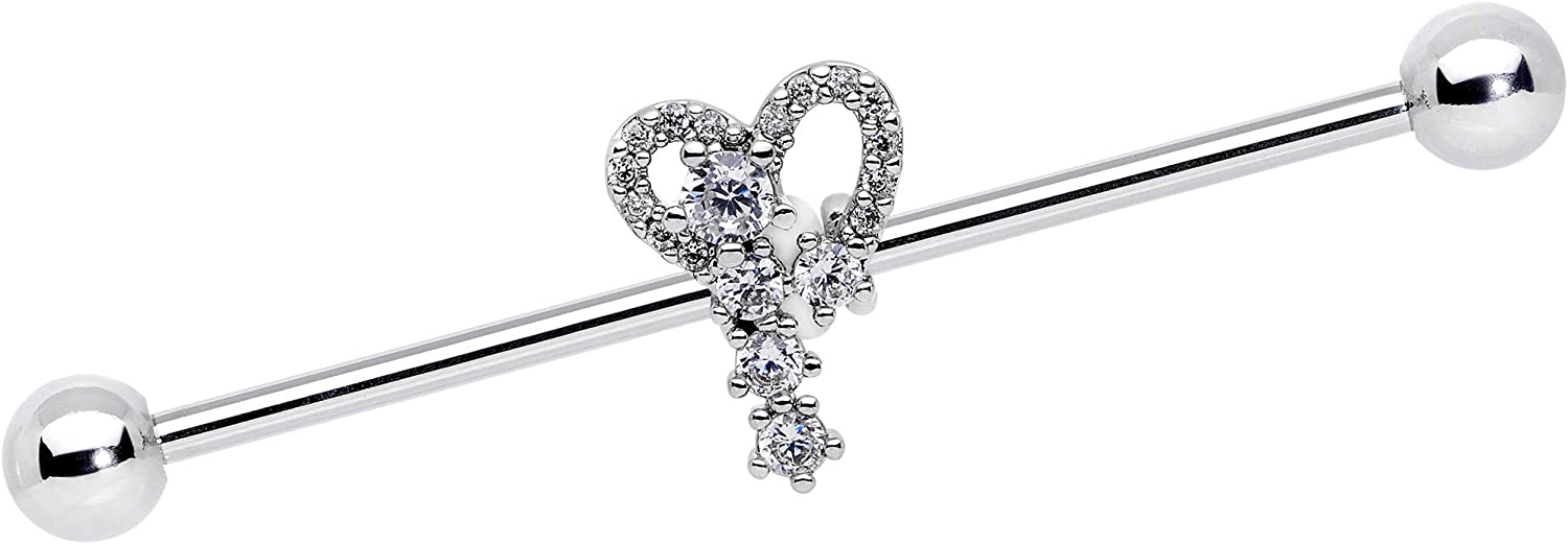 Body Candy 14G 316L Steel Helix Cartilage Earring Clear Accent Valentine Heart Industrial Barbell 1 1/2