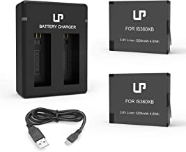 360 ONE X Battery Charger Pack, Compatible with ONE X Action Camera, LP 2-Pack Replacement Battery & Dual Slot Charger