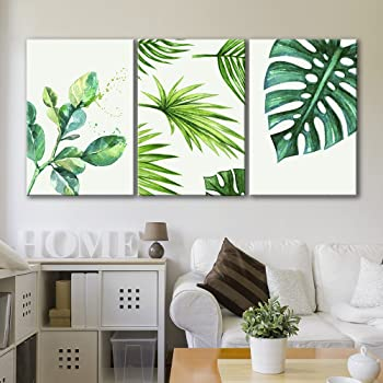 """wall10 - Style Green Tropical Leaves - Canvas Art Wall Art - 10""""x10""""x10  Panels"""