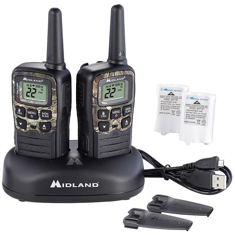 Midland - X-TALKER T55VP3, 22 Channel FRS Walkie Talkie - Up to 28-Mile Range Two-Way Radio, 38 Privacy Codes, NOAA Weather Alert (Pair Pack) (Black w/Mossy Oak Camo)