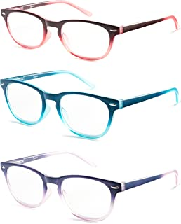 Colorful Round Womens Reading Glasses for Reading - Set of 3 - Blue, Pink, Purple, Value Pack - All Magnification Strengths