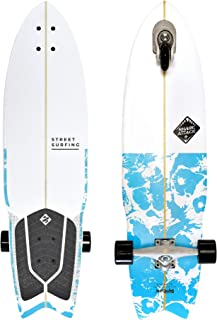 Street Surfing Surfskate Shark Attack Self Propelled Longboard Skateboard, 36 in. by 9.6 in. Psycho Blue Surf Inspired Design, Durable ABEC 9 Wheels