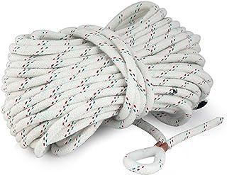 Ankerleine, Festmacherleine aus Polyester PES. Länge 15 m oder 30 m mit Kausch aus Nylon. Durchmesser 8 mm oder 10 mm wählbar. Widerstandsfähig und UV-beständig. Leinenfarbe Weiß mit Farbkennung.