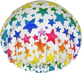 Kolorowa akwarela malowane gwiazdy wodoodporna czapka prysznicowa z elastycznym obszyciem dwustronna konstrukcja do pryszn...