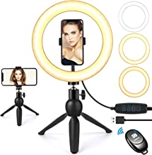 """Selfie Ring Light with Tripod Stand and Phone Holder, 9""""Dimmable Desktop LED Circle Light Ringlight for Live Stream, Makeup, YouTube, Video Shooting with Remote Control, 3 Light Modes & 10 Brightness"""