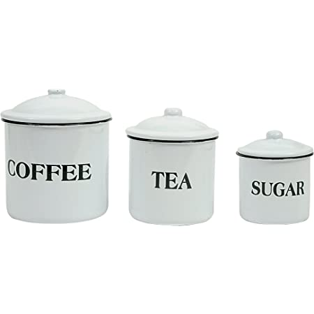 Amazon Com Creative Co Op Metal Containers With Lids Coffee Tea Sugar Set Of 3 Sizes Designs Food Storage White Kitchen Dining