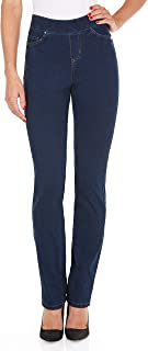 Jeans Womens Comfy Denim Wonderwaist Pull-On Straight Leg in Indigo