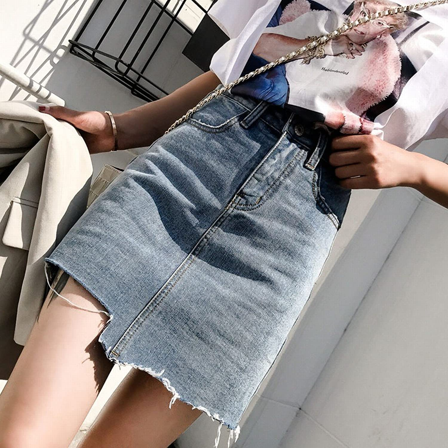 CWJ Student Thick Waist Ins Denim Skirt Female Summer a Irregular Skirt