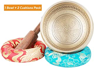 CAHAYA Singing Bowl Tibetan Singing Bowl Set Meditation Sound Bowl 3.7 Inches Lead-Free with Handmade Mallet Two Cushions for Yoga, Deep Relaxation, Stress Reduction, Holistic Healing, Reiki etc.