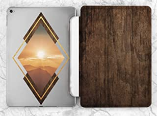 Geometry Vintage Wood Sunset Mountain Case For Apple iPad Mini 1 2 3 4 5 iPad Air 2 3 iPad Pro 9.7 10.5 11 12.9 inch iPad 9.7 inch 2017 2018 2019