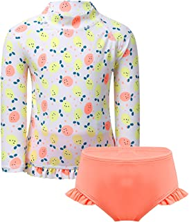 CHICTRY Baby and Toddler Girls 2-Piece Long Sleeve Rashguard Swimsuit Set Striped Flower Tankini